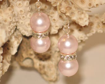 Closeout Sale - Swarovski Pink Pearl Nugget Earrings