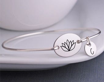Lotus Jewelry, Lotus Bracelet, Lotus Blossom Flower Bracelet, Bangle Bracelets Personalized, Yoga Jewelry