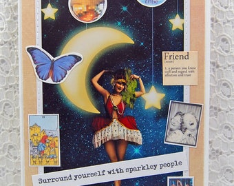 "Surround Yourself with Sparkley People Friendship Keepsake Card & 1"" button- Best Friends Card-Friendship Card-Collage Friends Card"