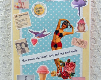 """You Make My Heart Sing and My Soul Smile Card-You Make A Difference- Friendship Keepsake Card & 1"""" button- You Are The Best Card-Bffs Card"""