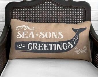 Seasons Greetings Whale -  Nautical Pillow Christmas  -  Burlap Christmas Pillow  - Nautical Christmas Decor -  Nautical Pillow Whale