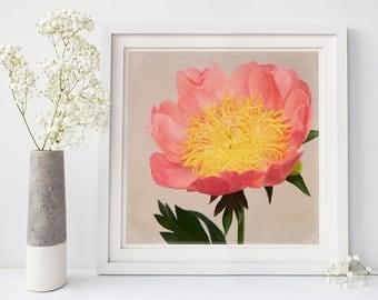 Peony Art Print, Botanical Print, Home Decor, Housewarming Gift for Her, Kitchen Art, Modern Farmhouse Art, Rustic Decor, Peony Wall Art