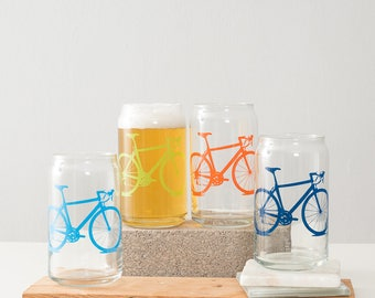 VITAL BICYCLE GLASSWARE screen printed bike  can glasses