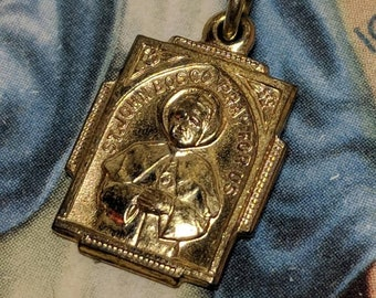 SALE TODAY Vintage St Saint John Bosco Gold Gilt Over Brass Art Deco Religious Medal Pendant