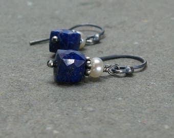 Lapis Lazuil Earrings Petite Minimalist Geometric Jewelry White Pearls Oxidized Sterling Silver Earrings