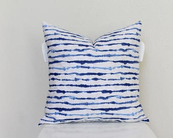 """Couch throw pillow Cover, Invisible zipper, closure, Indigo stripe dye, blue. 18"""" square, cushion, white, baby nursery pillow, bed pillow"""
