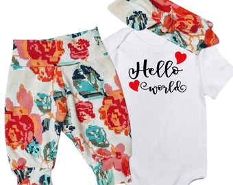 BABY GIRL Coming Home Outfit, Hello World newborn outfit, Little Girl gifts, Baby Shower Gift, Gift for her, Baby Girl, Baby Girl Outfit