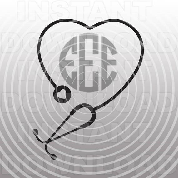 nursing svg file,monogram heart stethoscope svg file,cutting, Powerpoint templates
