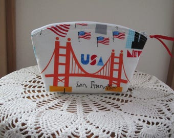 Small Cosmetic Bag Essential Oils Clutch Zipper Purse   USA Landmarks Cities Made in the USA