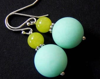 Blue and Green Earrings, Lime Agate Earrings,Light Blue Stone Jewelry