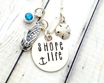 Personalized necklace-beach jewelry-shore life-jersey shore jewelry-personalized beach necklace-summer jewelry