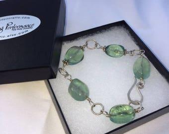 Hand Wrapped Fluorite Crystal Bracelet - Large Size -