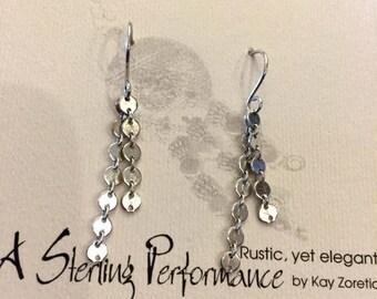 Decorative Italian Chain Earrings, Sterling Silver