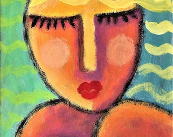 Abstract Portrait of a Woman Hand Painted on Ceramic Tile