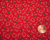 Quarter yard VINTAGE Christmas fabric TINY PRINT candy canes doll sewing Blythe quilting craft