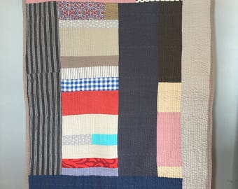 ready to ship -- large throw --cotton  -- beachy minimalist color block quilt