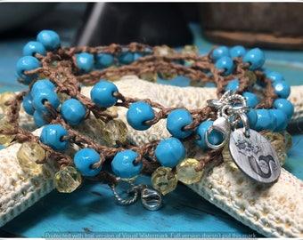 Long Necklace, Crochet Necklace, Crochet Bracelet, Turquoise Necklace, Vintage German Glass and Sterling Silver Crochet Bracelet/Necklace