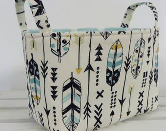 Storage Fabric Organizer Bin Container Basket - Navy Blue Mist Blue Yellow Feathers Arrows Tribal Aztec Fabric