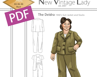 The Deidra 1940s WWII slacks and jacket set in PDF size 44-46-48 bust NVL plus size multi size repro vintage sewing patterns