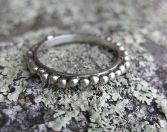 TINY BUBBLES sterling silver thin stacking ring stacker