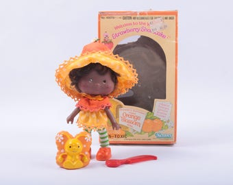 Vintage Strawberry Shortcake Doll in the Box, Orange Blossom, Pet, Butterfly, Accessories, Kenner ~ The Pink Room ~ CC002