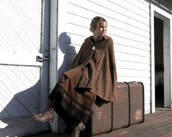 Vintage 1920s Tweed Wool Cape XS/S