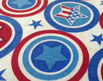 Captain America Fabric FQ Stars and stripes circles of red, white and blue on one piece of fabric for you!