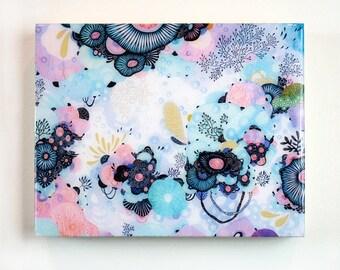 Blue Amble - Resin-Coated Art Print on Wood Panel