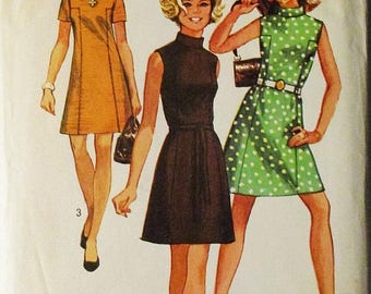 60% OFF SALE 1960s Vintage Sewing Pattern Simplicity 8588 Misses Dress Pattern Size 12 Bust 34