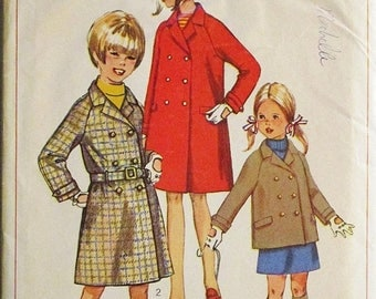 30% OFF SALE 1960s Childs Sewing Pattern Simplicity 7259 Girls Coat or Jacket Pattern Size 10 Uncut