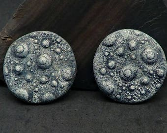 Pair of 28mm Urchin Cabochons or Beads - Handmade Faux Gray Basalt Rock for Bead embroidery, Jewelry, Scrap booking and more
