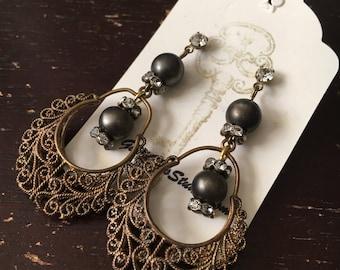 Filigree Drop Earrings, Wedding Earrings, Vintage Assemblage Earrings