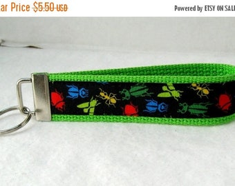 20% OFF Bugs Key Fob LIME Green Insects Keychain Wristlet