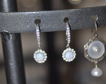 Sterling Silver Synthetic Opal and Crystal Earrings