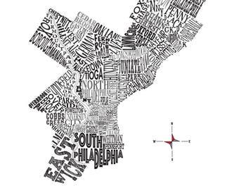 """Philadelphia Neighborhood Map 11 x 14"""" Print"""