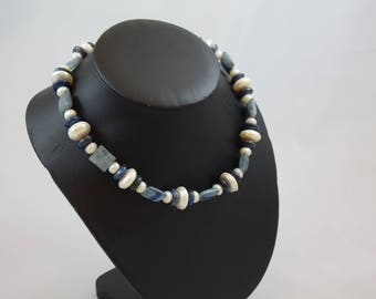 lapis roundelles, freshwater pearls roundelles, kyanite squares, sterling silver toggle clasp necklace