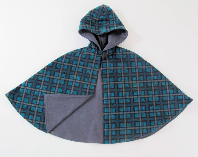 Girls Cape, Boys Cape, Turquoise & Gray Plaid Cape with Gray Flannel Lining, Girls Capelet, Boys Cloak, Poncho, Hooded Cape Size 5/6