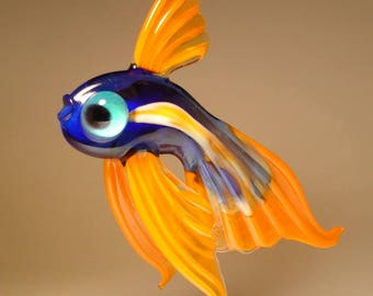 Handmade Blown Glass Art Figurine Blue and Orange Hanging Telescope Fish Ornament