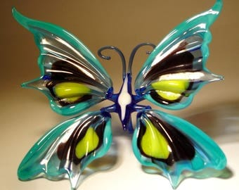 Blown Glass Figurine Art Insect Blue, Black and Yellow BUTTERFLY