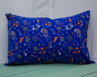 Pillowcase Made with Florida Gator Fabric - fits 13 x 18 or 12 x 18 Travel or Toddler Pillow