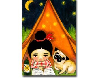Pug painting CAMPING under the stars Cute ORIGINAL pug portrait painting camping in a tent dog folk art by Tascha