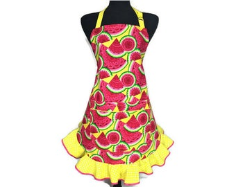 Watermelon Apron for Women , Bright Pink and Green / Retro Kitchen Decor / Ruffle with Pocket / Pin Up girl style