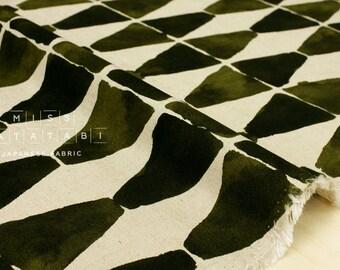 Japanese Fabric painted diamonds - olive green - 50cm