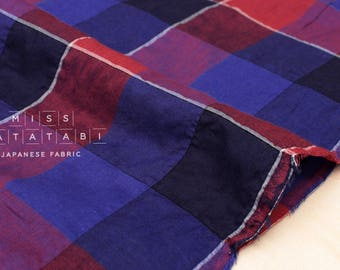 Japanese Fabric - yarn dyed textured plaid - blue, red - 50cm