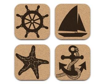 SAILBOAT ANCHOR WHEEL Starfish Nautical Coastal Cork Coaster Set Of 4 Home Decor Barware Decoration