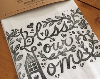 Bless Our Home  Tea Towel, Flour Sack Towel, Dish Towel,Housewarming Gift,Funny Dish Towel,Hostess Gift, Farm House Decor,Block Printing,bee