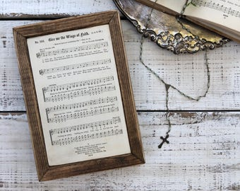 GIVE me the WINGS of FAITH Vintage 1879 Hymn Wood Frame Sign