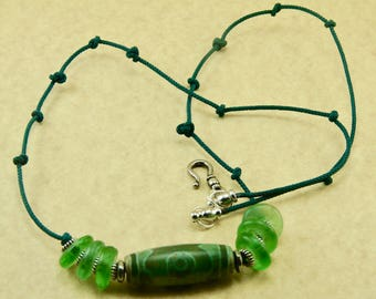 Handmade by Me Old Tibetan Agate Dzi Bead Focal Amulet Necklace with Green Seaglass