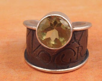 Citrine Wide Dome Adjustable Ring by donnaodesigns