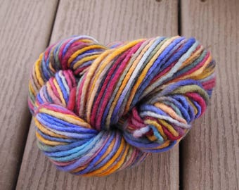 Handpainted Yarn Wool 95yards Worsted Weight Knitting Aspenmoonarts Hand Painted Purple Blue Gold Magenta C011B Felting